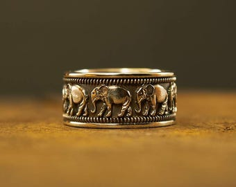 Silver Elephant Ring, Elephant Jewelry, Lucky Elephant, Silver Elephant, Indian Elephant, Animal Ring, Animal Jewelry, African Style, Nature