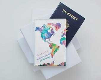 Free Custom Phrase Design With Colorful Map Personalized Design Passport Cover Travel Wallet CP0000