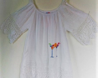 Ibiza white sleeve women's shirt cutting hand painted cocktail glasses