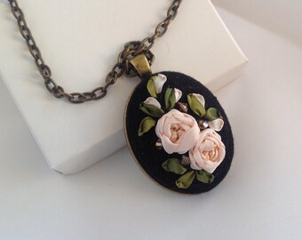 Christmas sale Tea roses on black Pendant with Silk ribbon Embroidery Roses to the dress Embroidered roses Roses on chain