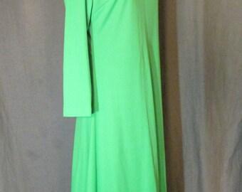 1960s Mod Long Sleeve Lime Green Knit Dress Size XL 16 | Jersey Dress