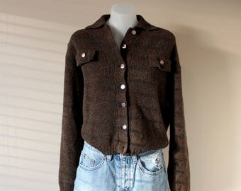 Ladies Brown Vintage Cropped Woolen Cardigan