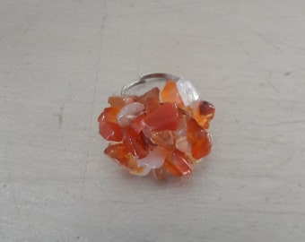 Boho gemstone in Orange stone chips rocks ring