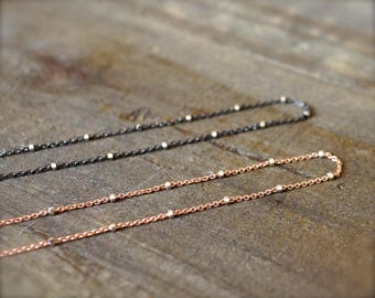 Two tone sterling silver oxidized chain. Two tone sterling silver rose gold chain (plated). Sterling silver fancy delicate chain with clasp.