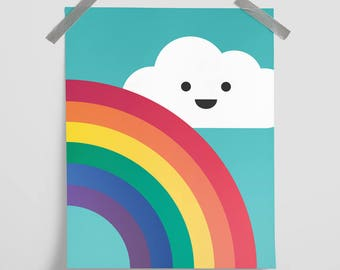 Cloud & Rainbow Poster Print Wall Art Home Décor. Baby, Nursery, Children, Kids Room