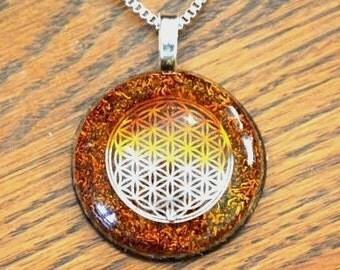 Orgone Pendant Necklace Sacred Geometry/Flower of Life Orange Crystal Healing Energy Jewelry EMF Protection