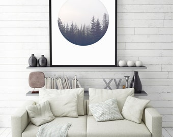 Pine Tree Print Scandinavian Print Pine Forest Print Shop Circle Art Nature Art Pine Trees Art Pine Print Scandinavian Poster Nature Poster