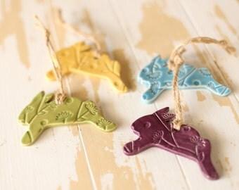 Rabbit Pottery Ornament/Bunny Ornament/Handmade Rabbit Pottery/Handmade Pottery Ornament/Pottery Christmas Decor/Rabbit Tree Ornament/Rabbit