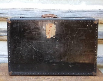 Vintage Steamer Trunk- Flat Top Travel Trunk- Old Luggage- Suitcases- Black, Metal Trim- Travel Stickers- Coffee Table- Decor- Furniture