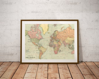 World map wall art vintage etsy world map world map printntage world map posterp digital print gumiabroncs Choice Image