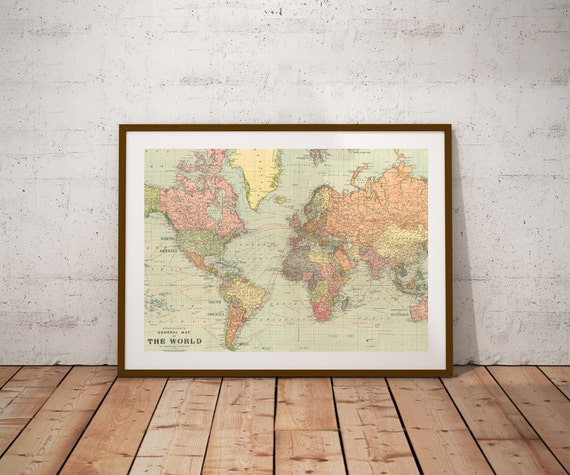 World map world map printntage world map posterp digital world map world map printntage world map posterp digital printrsery wall art print map posterntage map decor 10x8 inches gumiabroncs Choice Image