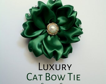 Fancy flower bow for cat - pull on bow for cat collars - satin cat bow flower with rhinestones