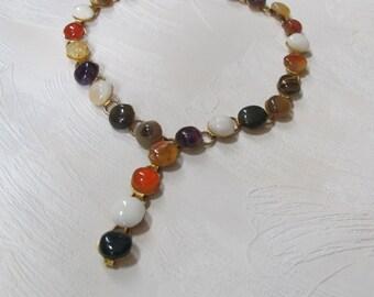 Multiple Gemstones Choker.Adjustable Necklace.Versatile Vintage Jewelry 1970s.Multicolored Gemstone Bracelet.Earthy.Hippie.Boho.Gift for Her