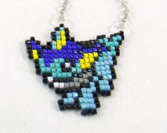 Vaporeon Pokemon Pixel Sprite Necklace Eeveelutions - Vaporeon Necklace Pokemon Necklace Geeky Necklace Geek Gift Anime Necklace