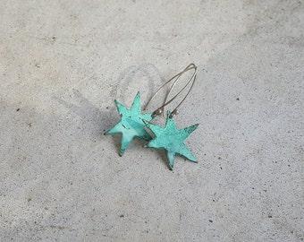 Handmade Copper and Sterling Earrings, Verdigris Stars - Vintage, Local Artist Made