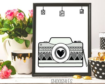 Camera Print, Digital Download, Love Photography, Photo Art Print, Nursery Decor, Fashion Wall Art, Photography Printable, Ink art, drawing