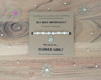 Wedding Party Gifts, Custom Bridesmaid, Flower Girl Bracelet, Will You Be My Flower Girl, Gift Under 10, Personalised Wedding Gift