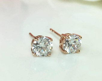 Rose Gold Diamond Earrings, CZ Diamond Earrings, Large Cubic Zirconia Studs,White Gold Diamond Studs, 6mm Diamond Studs,Bridesmaid Earrings