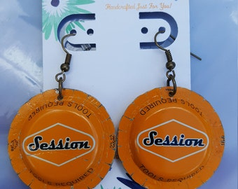 Orange Session Bottlecap Earrings