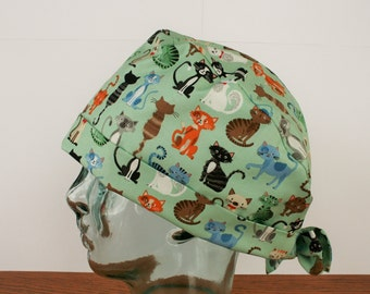 Cats, Kittens, Pets,  Animals, Surgical Cap, Scrub Hat, Vet Tech, Women's  Tie Back Hat, Scrub Caps By Daisy