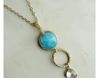 Blue necklace, chain necklace statement necklace for woman pendant necklace spring colors necklace simple necklace golden necklace