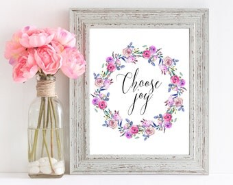 Choose Joy, Printable Quote, Calligraphy Print, Inspire Others, Home Accessories, Floral Wall Art, Girl Gift, Typography Printable, 8x10 Art