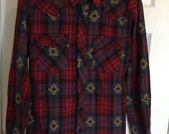 1980s Western Style Plaid Shirt