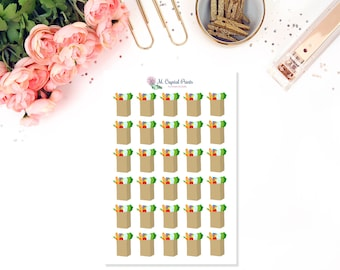 Grocery Bag Stickers || 30 Planner Stickers