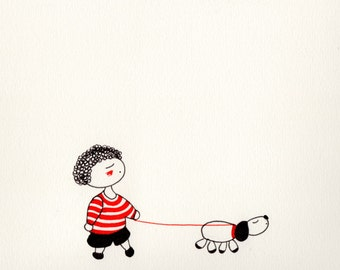 SerieR&N_4. Print niño, perro, rojo, negro, rayas, boy, children, dog, red, black, stripes, cute