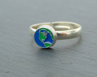 Globe World Map Silver Plated Ring