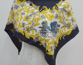 FREE SHIPPING!!! Richel Paris Vintage Richel Paris Horse Buggy Clip Abstract Theme 100% Silk Scarf