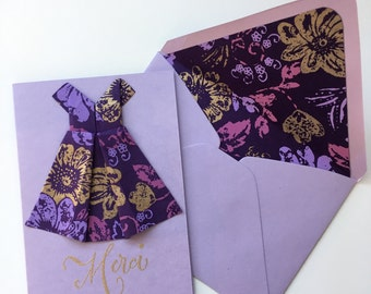 Purple & Gold Origami Dress Thank You Card