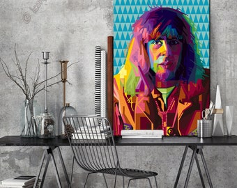 Tribute to John Mayall FRAMED ART personalized by you gift for music lovers pop art for women, gift for men for and gift idea for musicians