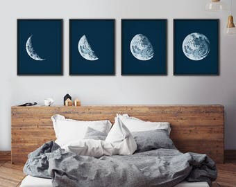 Moon phases print set, Moon phases wall art, Moon phases print, Full moon wall art, Moon art, Astronomy print, Nautical decor, Wall decor