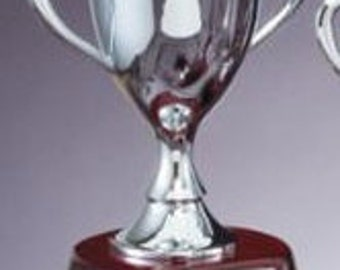 "Custom Silver Metal Trophy Cup on Rosewood Piano-Finish Base ~ 7 1/2"" Tall"