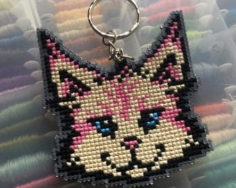 KEYRING - Yellow and pink cat