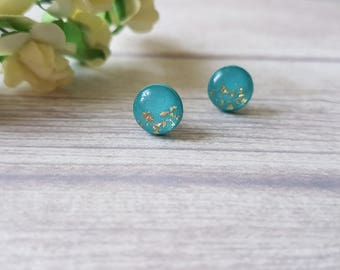 Turquoise and gold earrings, Turquoise stud earrings, Summer earrings, Minimalist earrings, Teal earrings, Gold and turquoise earrings