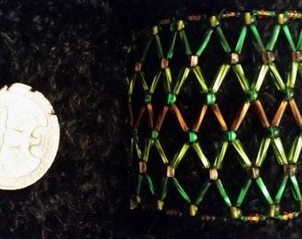 Green and Brown Net Weave Beaded Bracelet