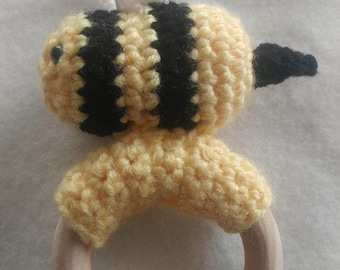 Bee Teether, Natural Wood Toy