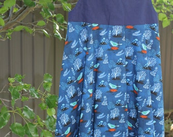 Girls Dress - Blue, Bird, Size 7-8
