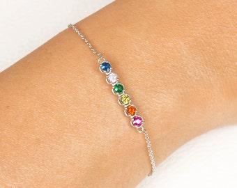 Birthstone Bracelet, Mothers Birthstone Bracelet, Personalized Bracelet, Custom Birthstone Bracelet, White Gold Bracelet,Bridesmaid Gift