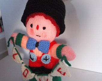 """Hand Knitted """"with Love"""" Clown toy"""