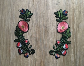 Embroidered Flower Banners - Iron on patch - Free Shipping