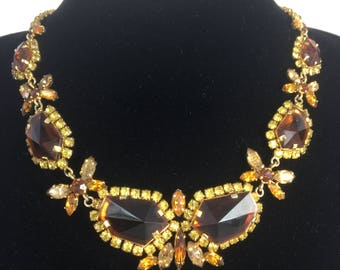 1950's fabulous amber cut-glass, rhinestone statement necklace.