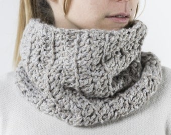 Soft Hypoallergenic wool neck warmer in handmade, light gray, to use instead of the scarf.