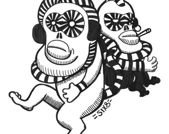 Hipster Monkey digital art print black-and-white