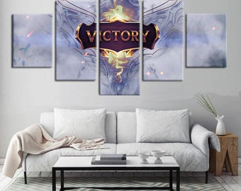 Victory- 5 Piece Canvas Wall Art | League of Legends Canvas Wall Art |  Champion Painting | Poster | Print | Mural | Decal | Decor