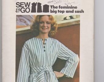 Butterick 4151 / Misses Top & Sash / Size Large / 70's Vintage Sewing Pattern
