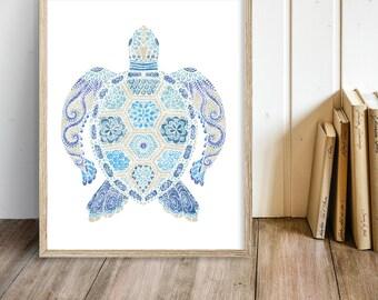 Sea Turtle Print - Sea Turtle Art - Sea Turtles - Sea Turtle Decor - Home Decor - Turtle Print - Beach Decor - Coastal Art - Printable Art