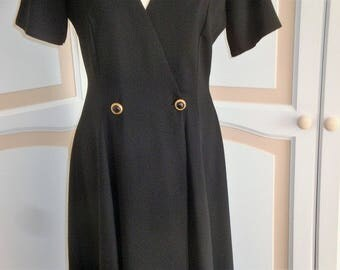 Vintage Long Coatdress Black by Champagne siz 10 uk